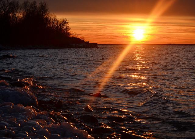 Sunset winter lake